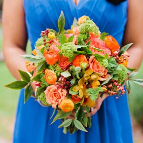 Cobalt And Orange Bridesmaids