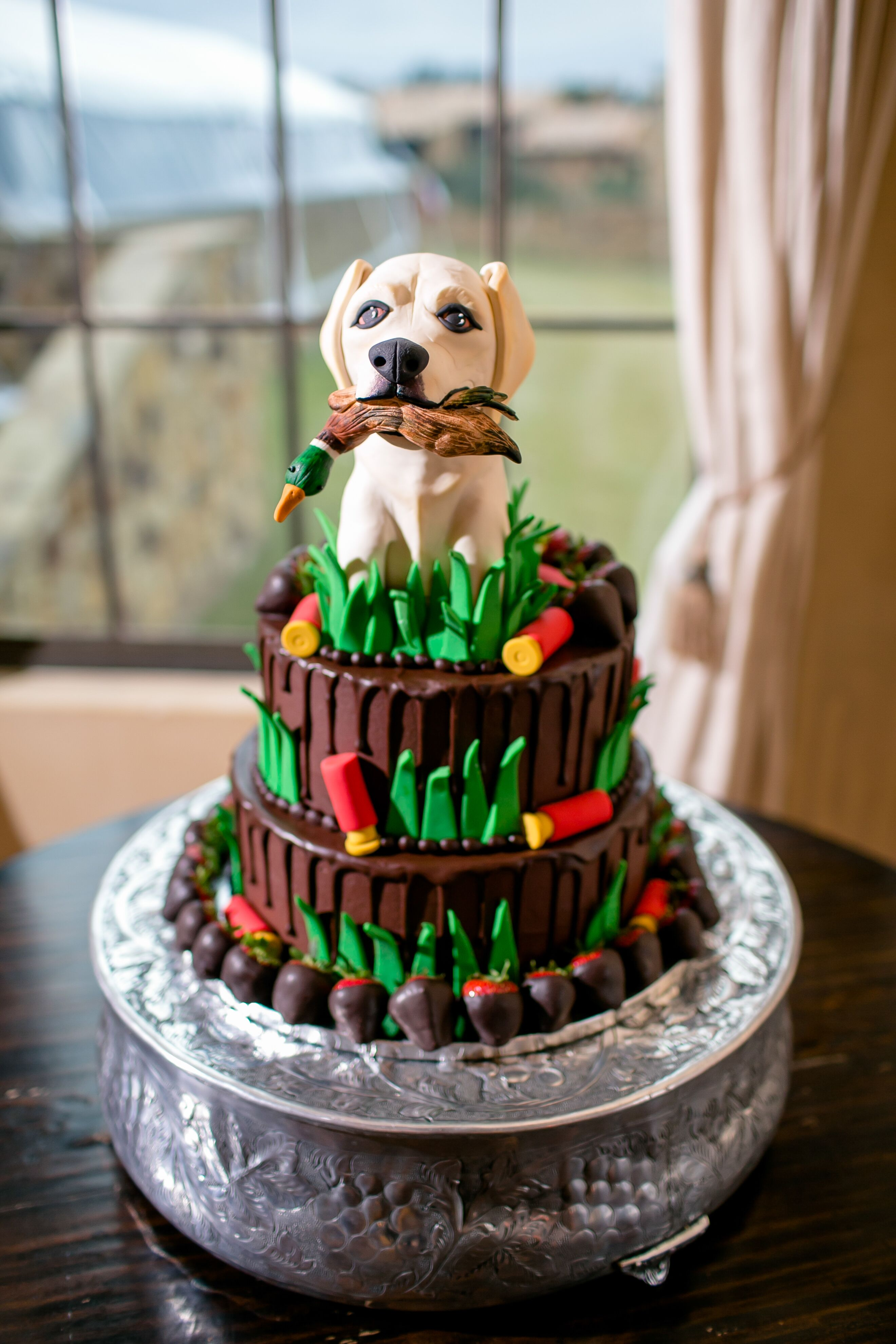 Whimsical Groom S Cake With Hunting Dog Topper