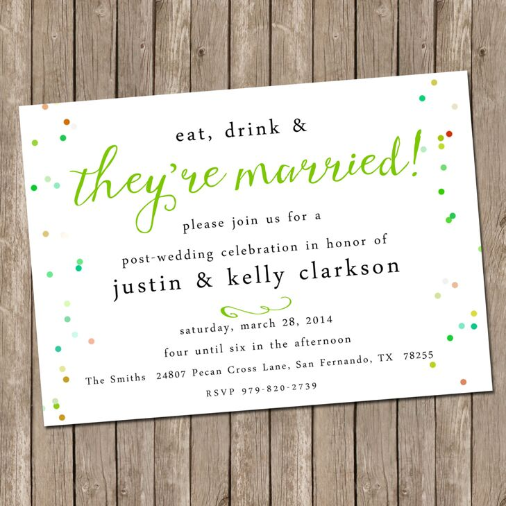 Brunch, Lunch Or Dinner. Post Wedding Celebration Invitation
