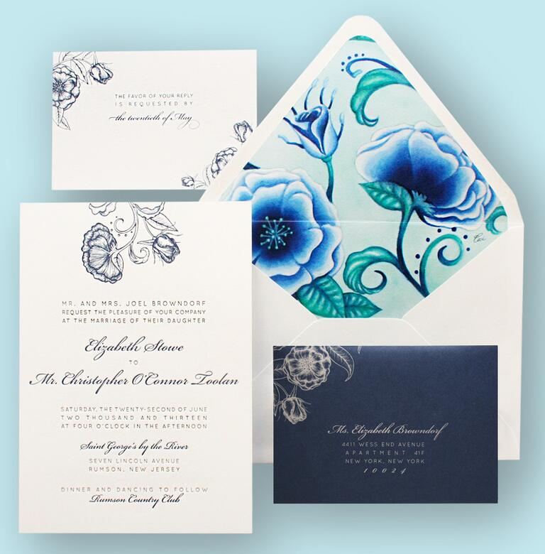 Ceci New York blue envelope liner wedding invitation