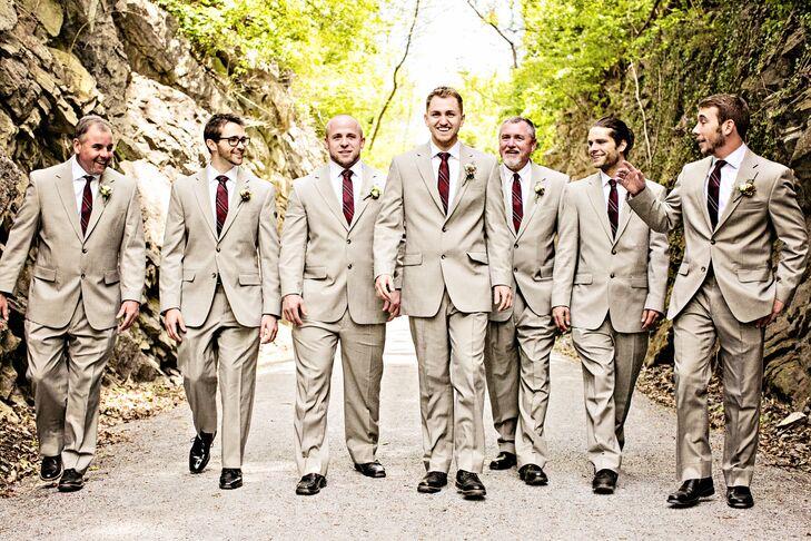 Neutral Groomsmen Suits With Maroon Ties