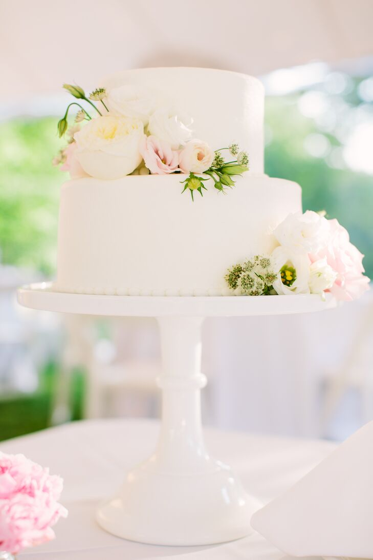 Simple Two Tier Garden Rose Cake