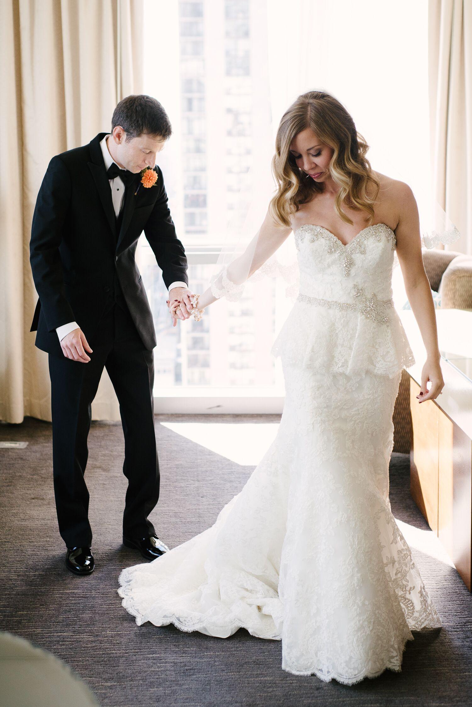 Bride 39 s strapless lace peplum wedding dress for Peplum dresses for wedding guest