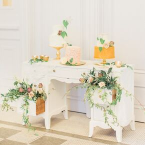 Vintage wedding cakes different wedding cakes atop vintage desk junglespirit Choice Image