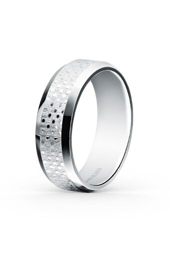 Kirk Kara Platinum Polka Dot Wedding Band