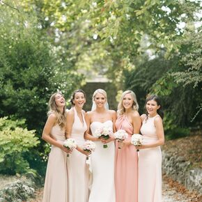 Blush weddings formal mismatched blush bridesmaid gowns junglespirit Gallery