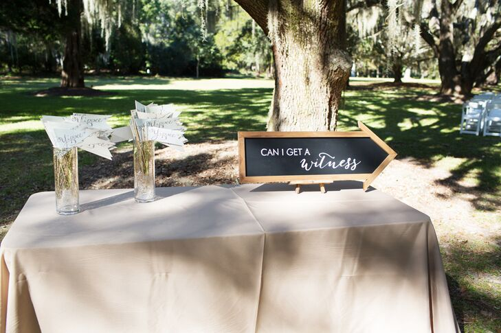 'Can I Get A Witness' Chalkboard Wedding Sign