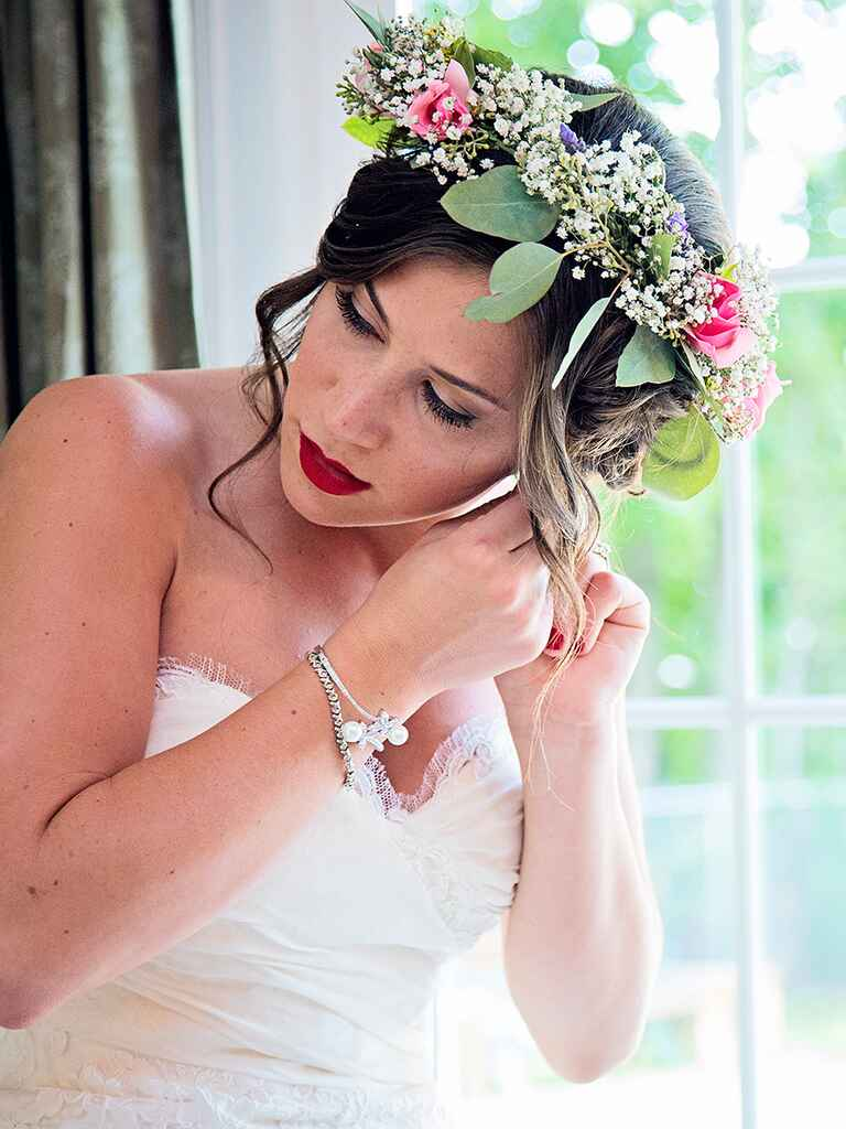 Baby's breath, eucalyptus and rose flower crown