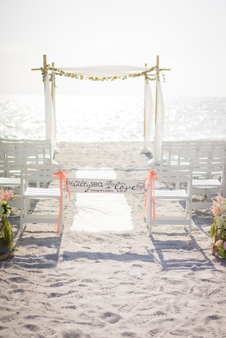 White Beach Wedding Sign, Peach Ribbon