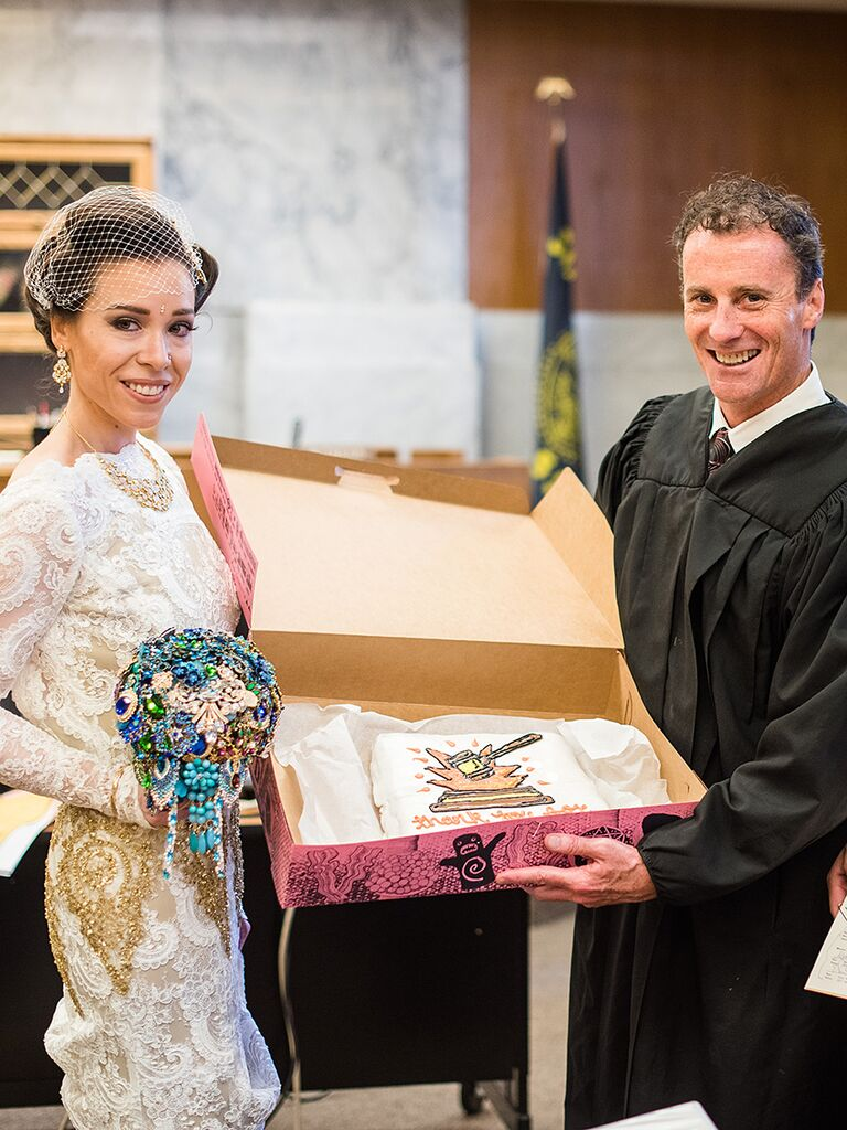 Unique wedding ceremony idea; giving your city hall officiant a thank-you cake