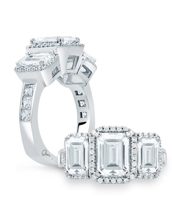A.JAFFE Classic Three Stone Emerald Cut Halo Engagement Ring, MES694 Engagement Ring photo