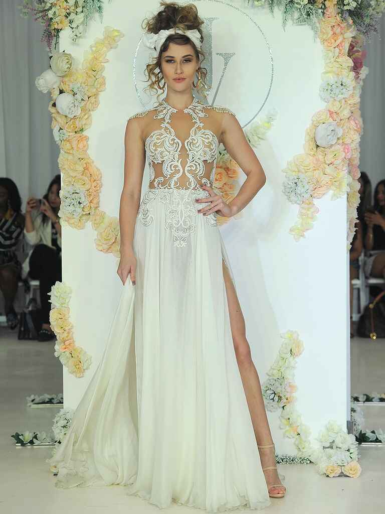 Julie Vino Fall 2018 illusion cap sleeve wedding dress with high slit