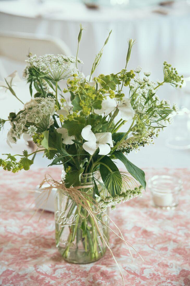 Wildflower Centerpieces In Mason Jar Vases
