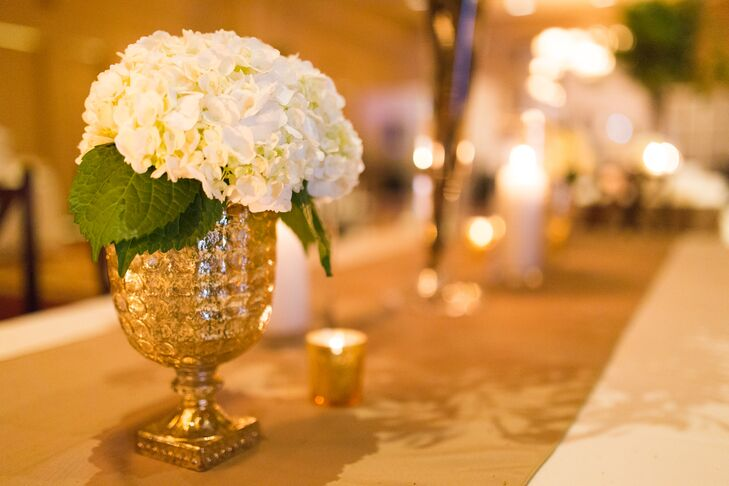 White Hydrangea Accent In Gold Vase