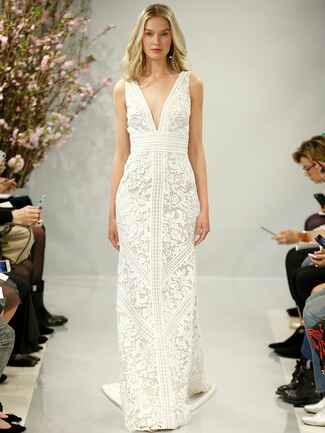 Theia Spring 2018 ivory V-neck patchworkcotton guipure lace wedding dress