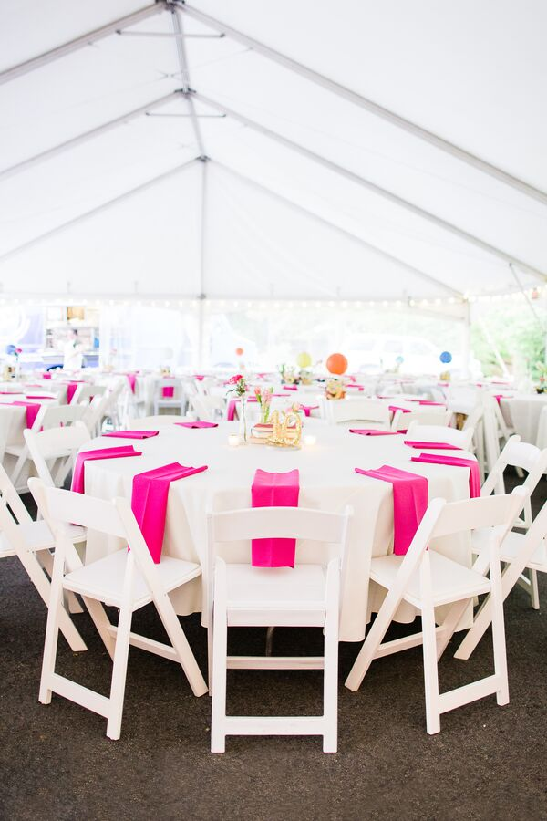 Simple White and Hot Pink Tented Wedding Reception
