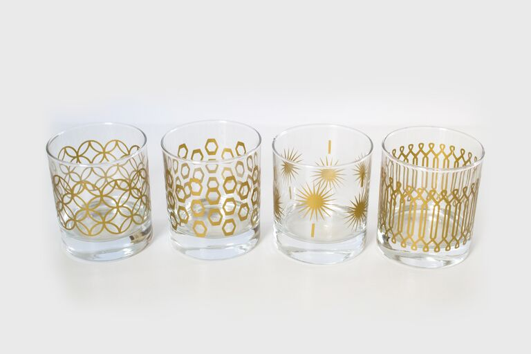 Metallic Print Glassware Cheap Diy Wedding Gift Ideas
