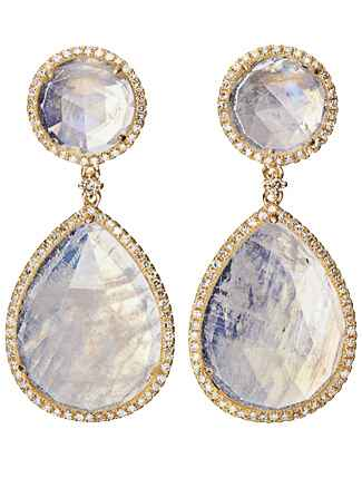 Moonstone and Diamond Earrings