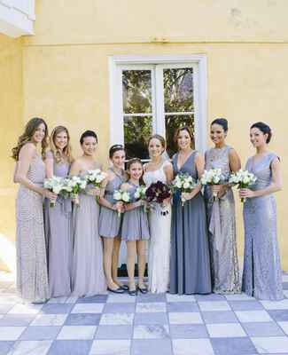 Mixed Gray and Silver Mismatched Bridesmaid Dresses |<img class=