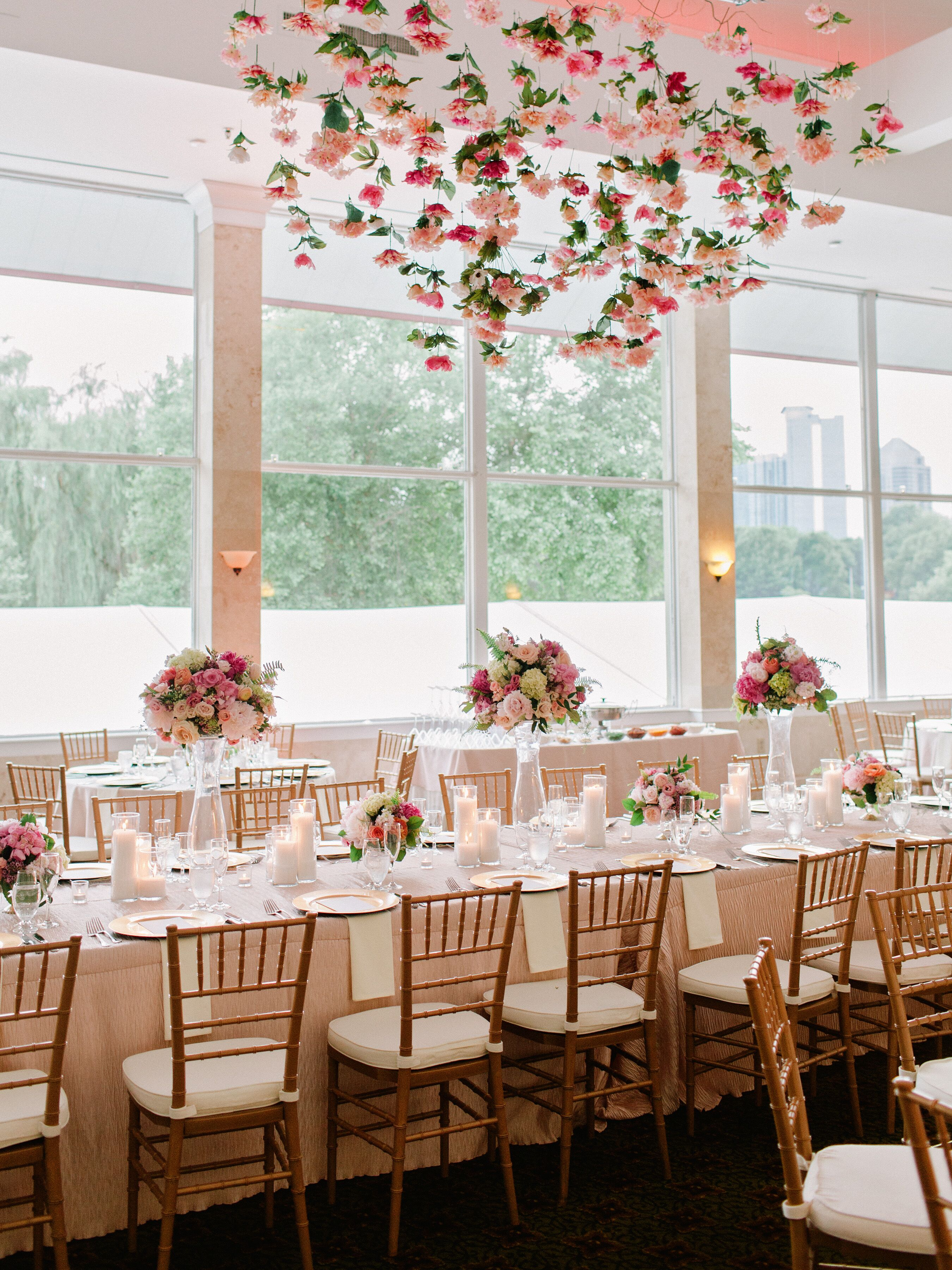 Blush and Ivory Hanging Flower Arrangement Ballroom Reception