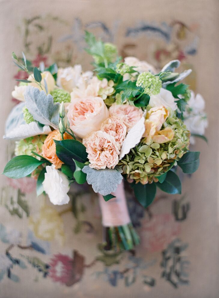 pastel bouquet with garden roses and hydrangea