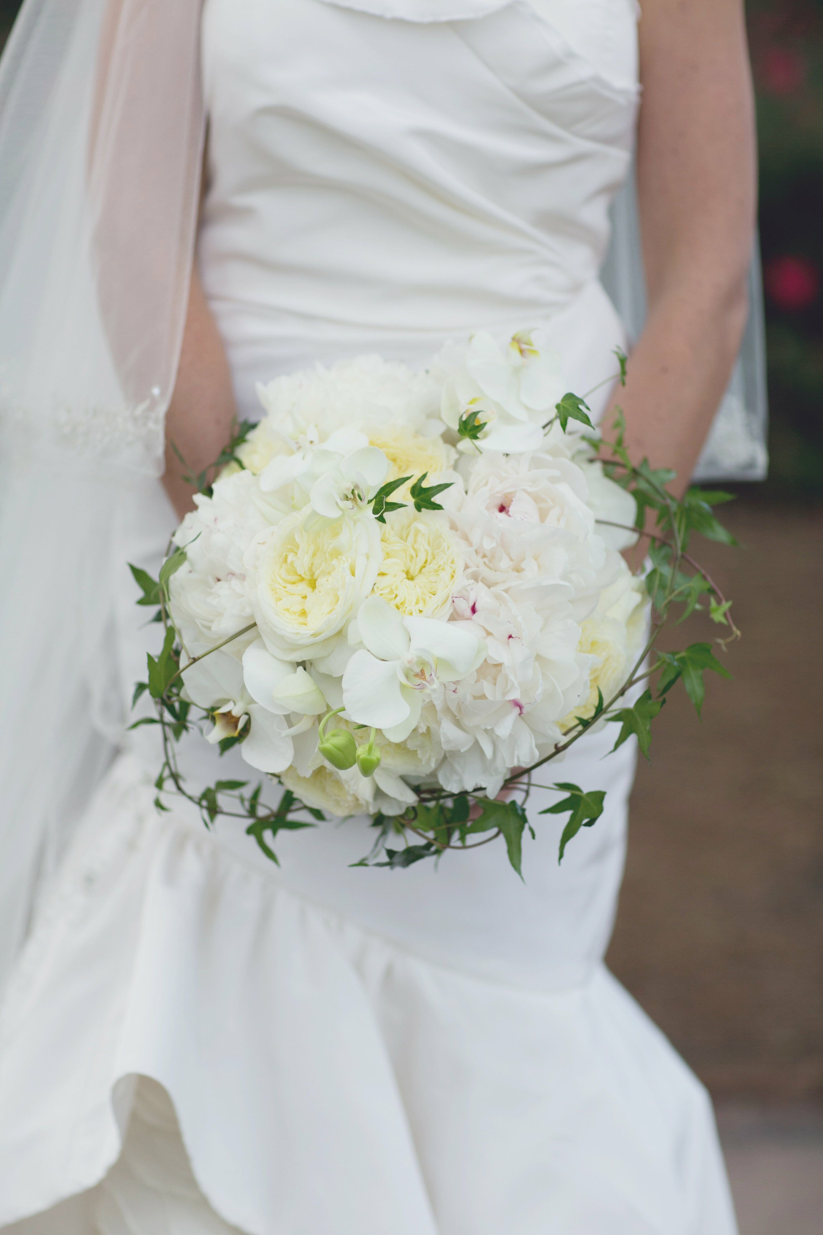 Garden Rose And Peony white rose and peony bouquet
