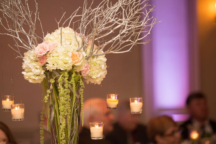 Blush Hydrangea and Amaranthus with Branch Accents