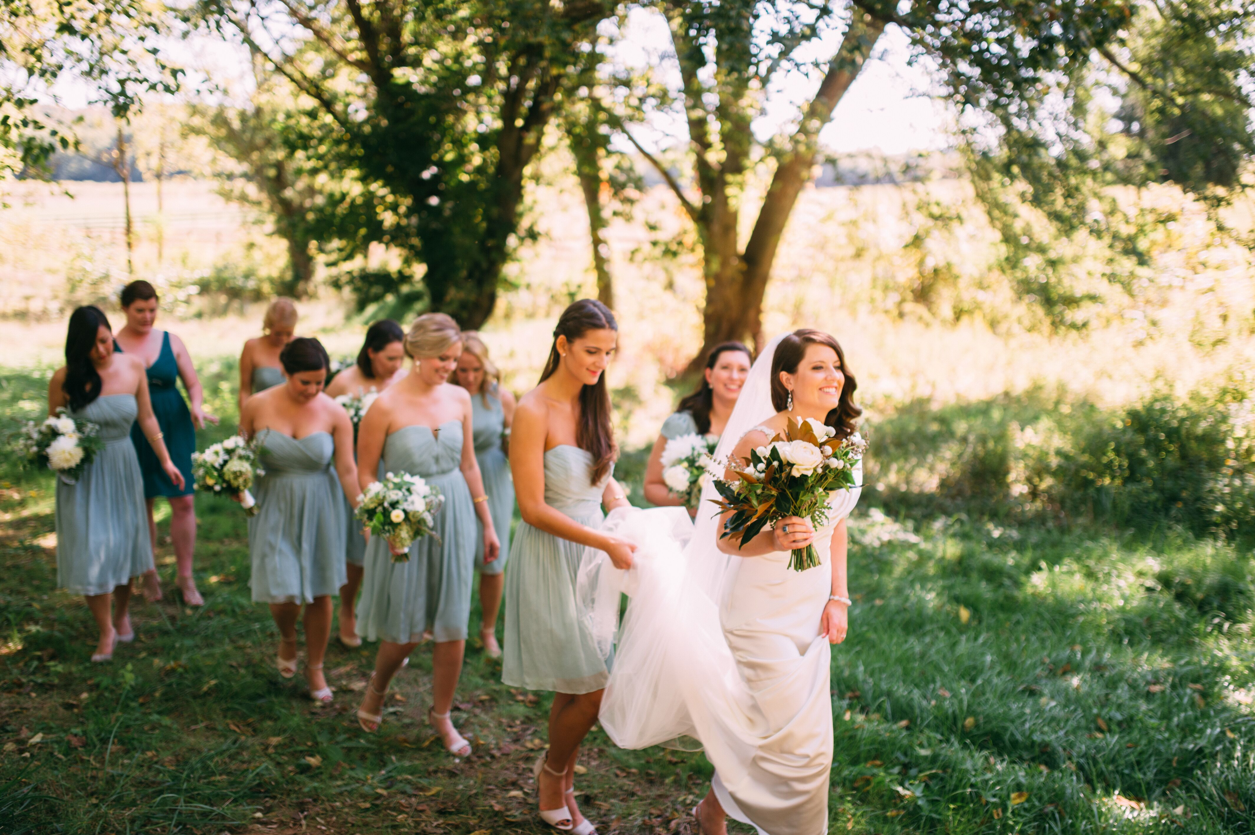 Bridesmaids In Dusty Shale J. Crew Dresses
