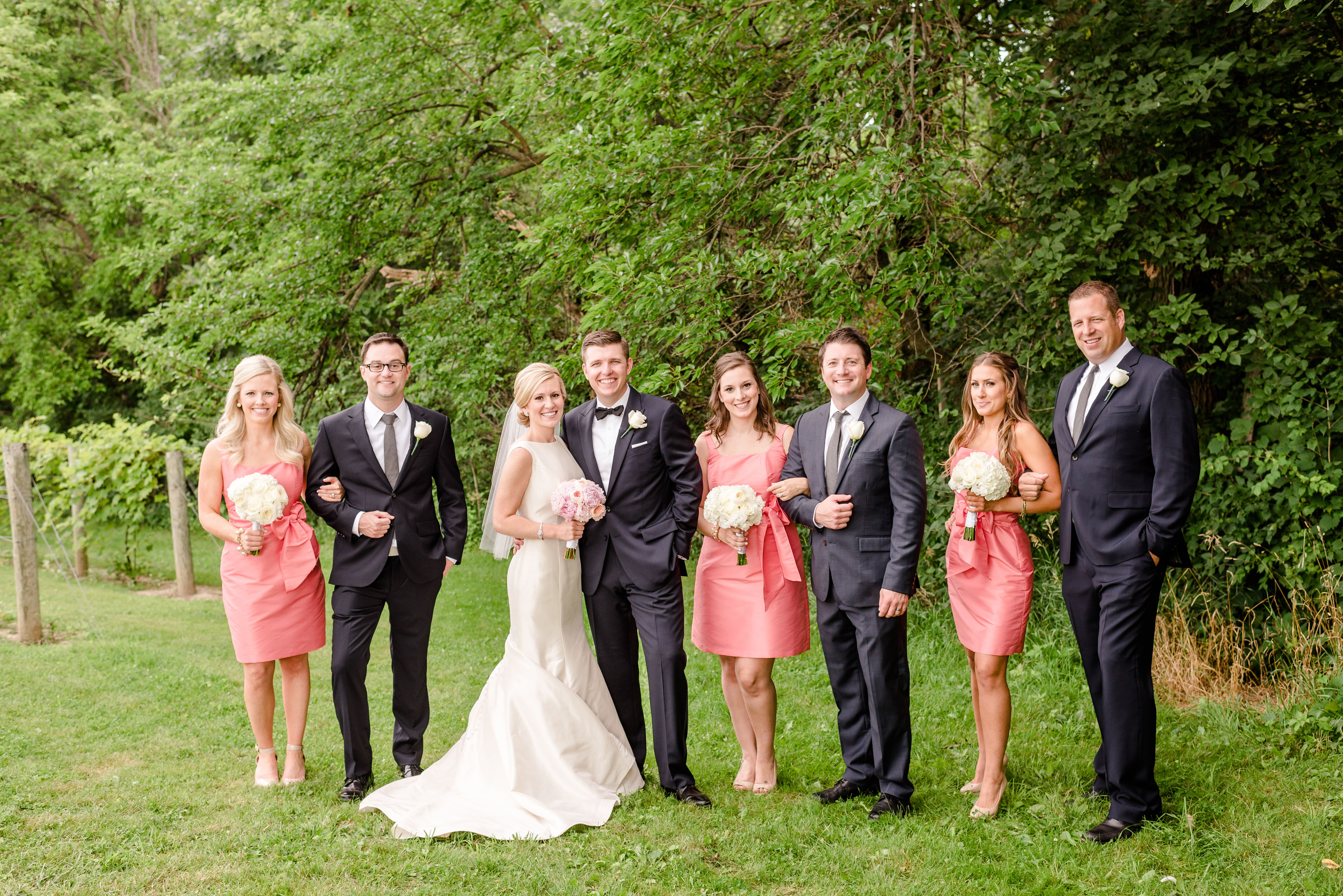 navy and coral summer wedding party