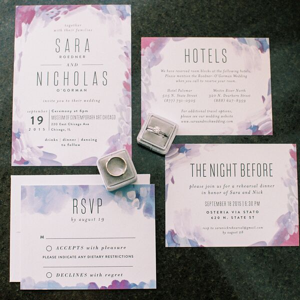 Modern Purple Watercolor Wedding Invitations