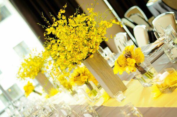 Yellow oncidium orchid centerpiece