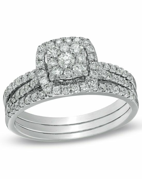 Zales 1 CT. T.W. Composite Diamond Frame Bridal Set in 10K White Gold  19801935 Engagement Ring photo