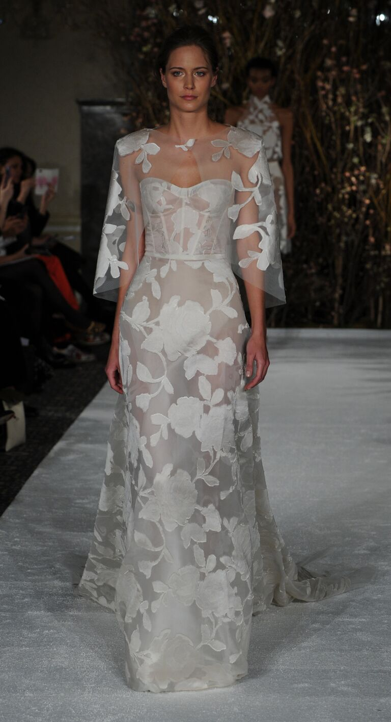 Mira Zwillinger Spring 2017 Sheer Wedding Dress With White Floral Detail And Bolero