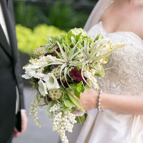 Lily Scabiosa Pod And Greenery Bouquet