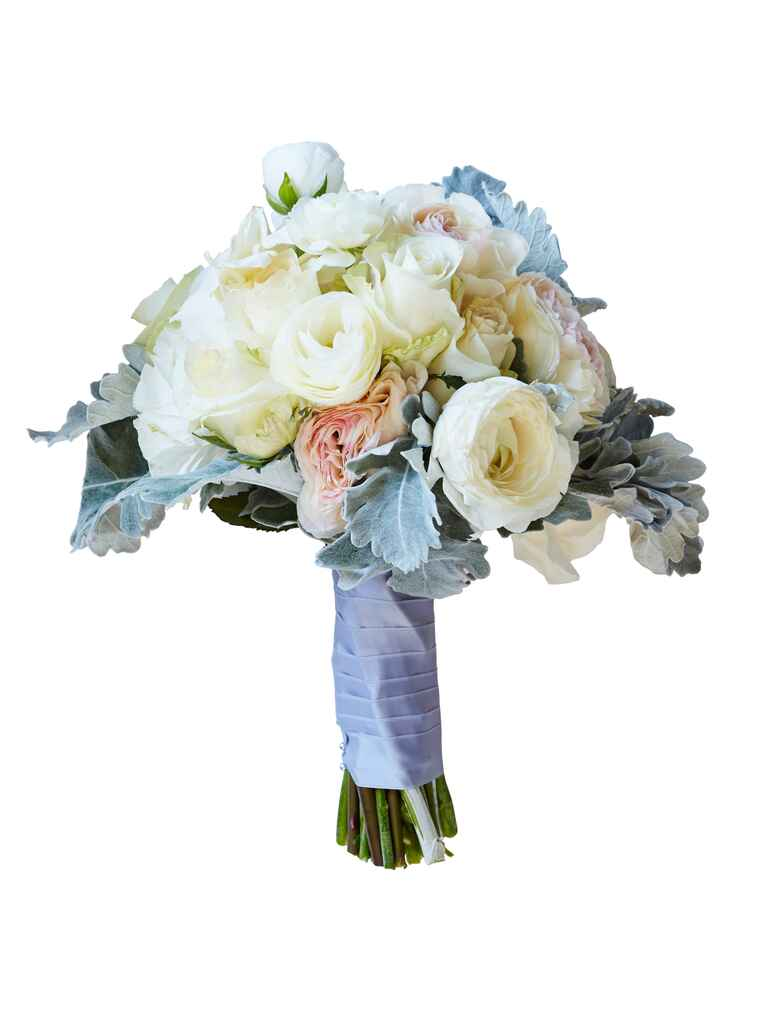 White and peach ranunculus and dusty miller bridal bouquet