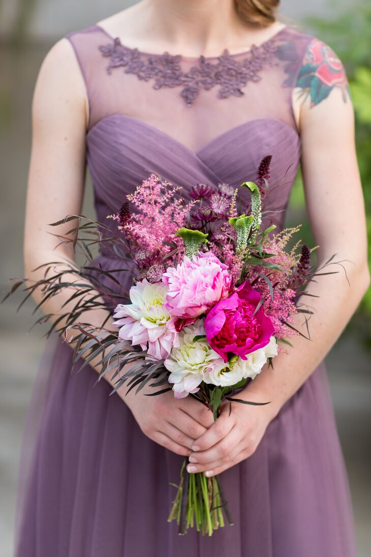 Textured Pink, Purple and White Bridesmaid Bouquet