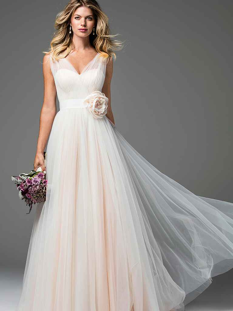 Blush pink wedding gown by Wtoo