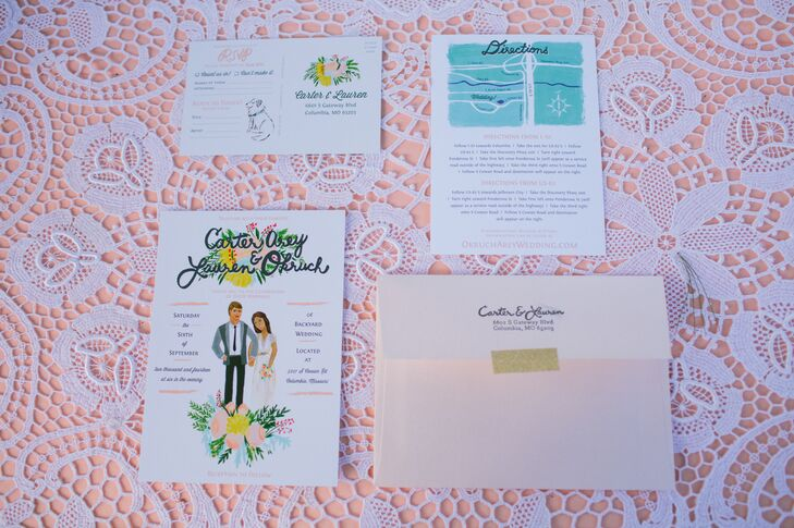 To give guests a taste of the wedding's vibe and style, Lauren and Carter opted for playful, illustrated wedding invitations in bright, summery colors.