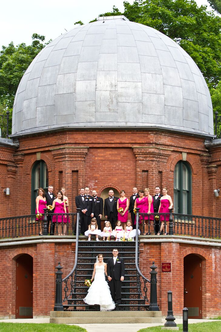 Pink Wedding Party at Vassar College Observatory