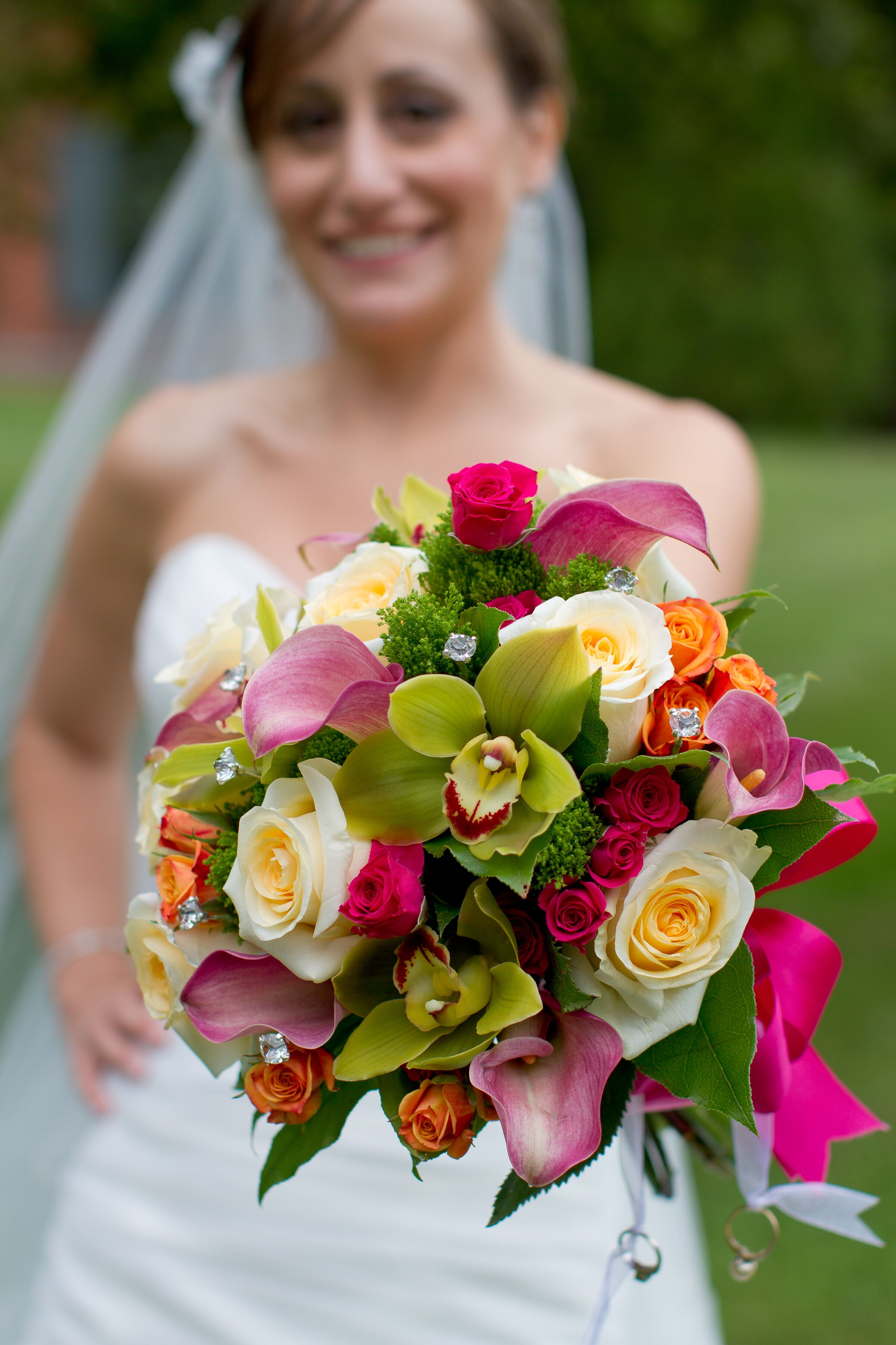 Green And Pink Rose Orchid And Calla Lily Bouquet