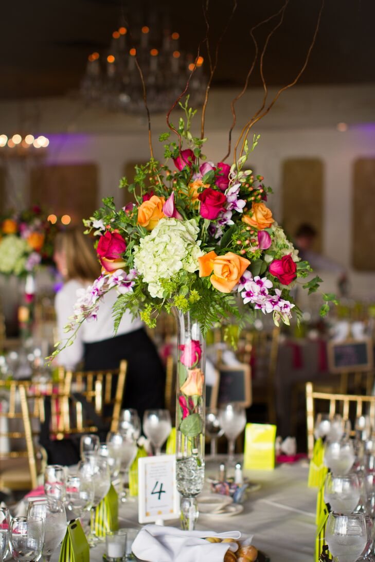 Bright Pink, Green, and Orange Rose and Hydrangea Centerpieces