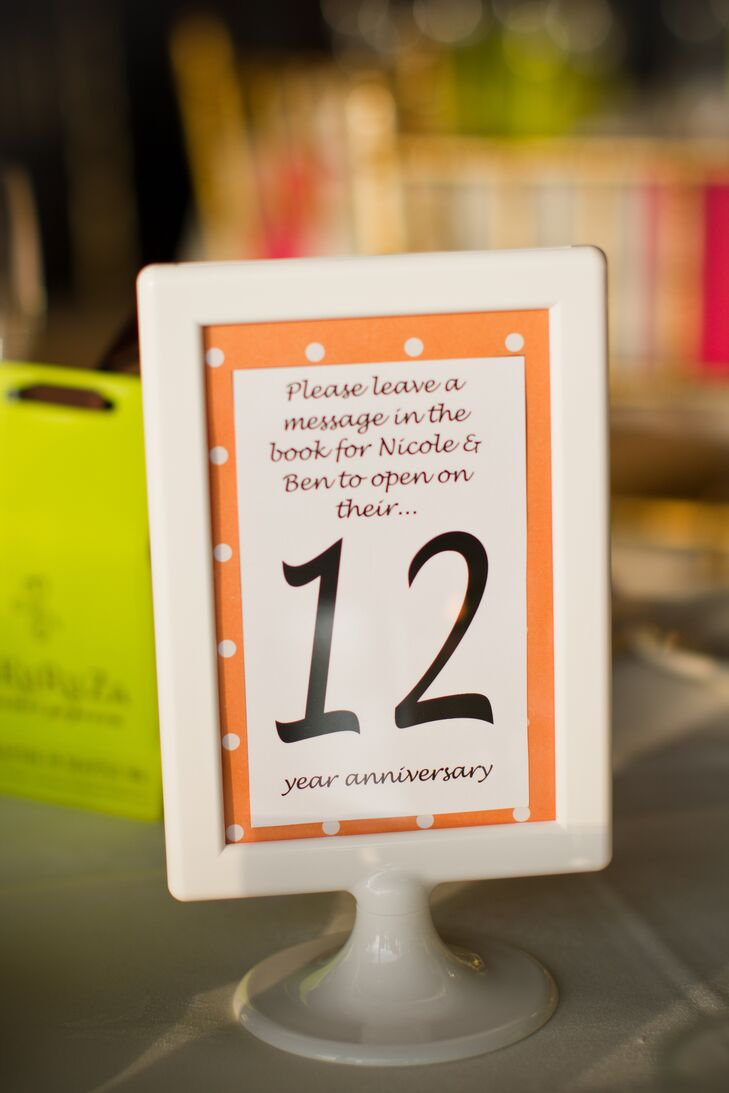 Table numbers were typed on neon stationary and placed in white frames. In small print, every table number asked guests to sign a page in the guest book that the couple would read on that designated anniversary.