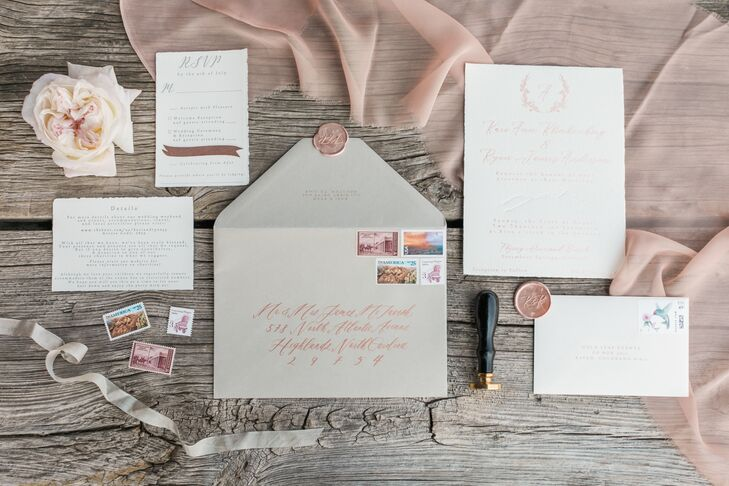 Rose Gold Script Invitations with Laurel Monogram