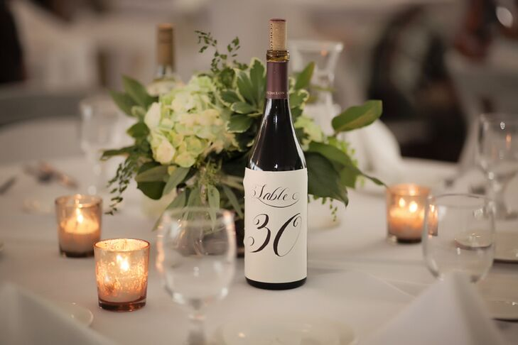 Wine Bottle Label Reception Table Numbers - Custom restaurant table numbers