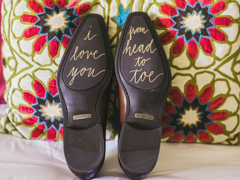 Wedding shoes with messages on the bottom