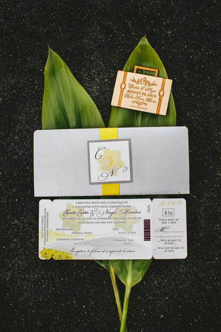 Gray and yellow boarding pass save-the-dates