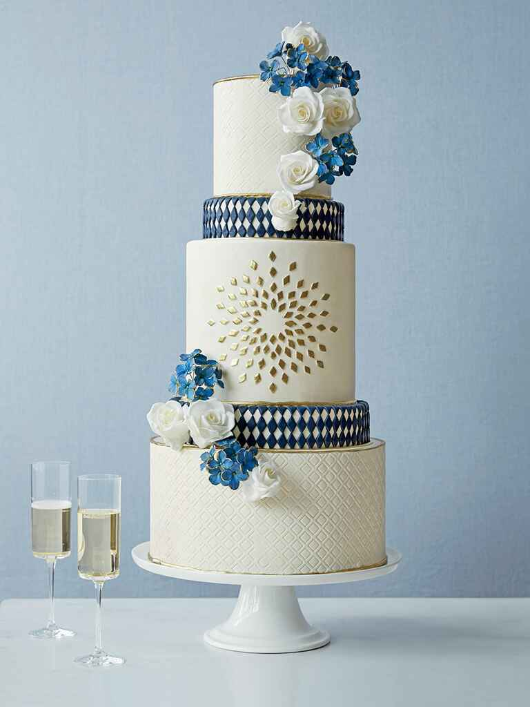 Cake Alchemy blue and white wedding cake with graphic patterns