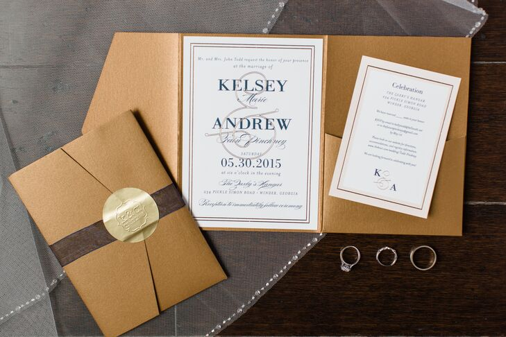elegant gold and navy trifold invitations