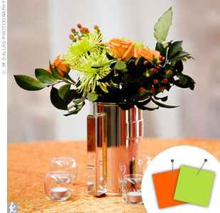 Lime green and orange centerpiece
