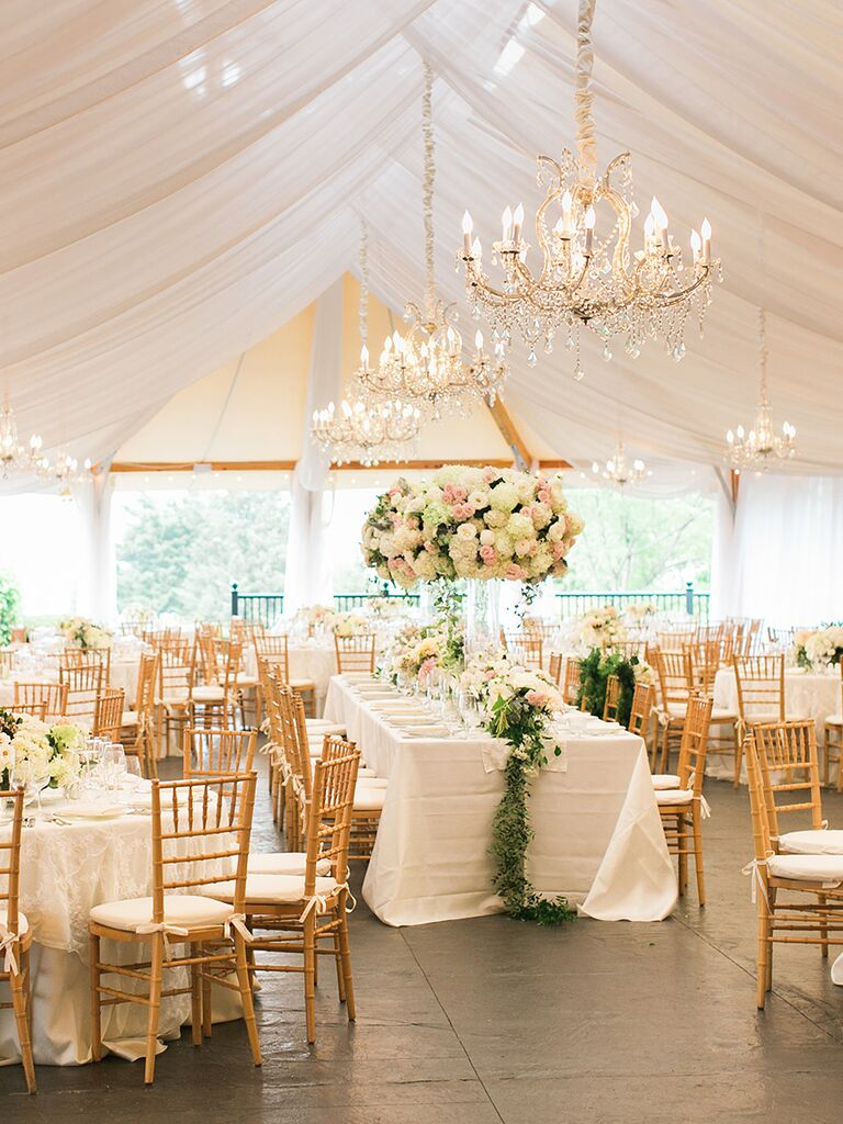 Elegant outdoor wedding tent with chandeliers & The Prettiest Outdoor Wedding Tents Weu0027ve Ever Seen